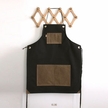 Heavy duty versatile apron in black canvas with waxed tan pockets - Volcano Store