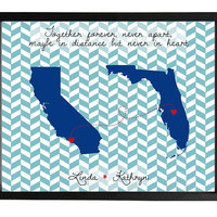 Long distance friendship love or family quote map 8x10 in personalized
