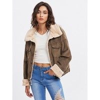 Fleece Inside Drop Shoulder Corduroy Jacket