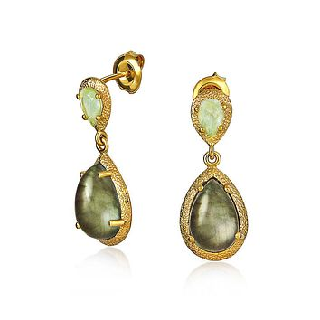 Green Labradorite Drop Earrings 14K Gold Plated 925 Sterling Silver