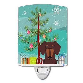 Merry Christmas Tree Dachshund Chocolate Ceramic Night Light BB4256CNL