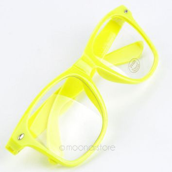 Fashion Candy Color Glasses Unisex Clear Lens Nerd Geek Glasses Various Colors J*0CMHM110#M6