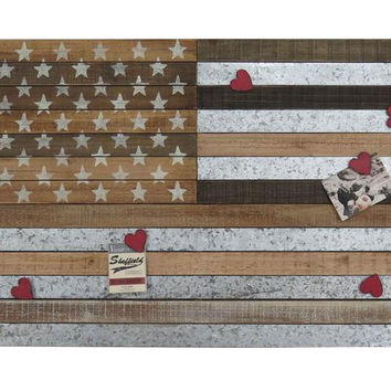 USA Flag Metal and Wood Wall Decor USA Flag with Magnets 36-in