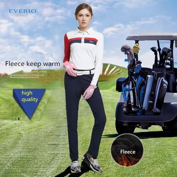 Winter new women's solid color thickening fleece golf trousers Female autumn winter warm Slim breathable sports golf pants 26-31