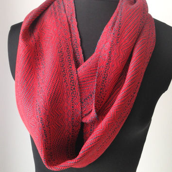 Handwoven Ruby Red and Teal Green Infinty Scarf, Long Red Loop Scarf, Tencel Neck Scarf