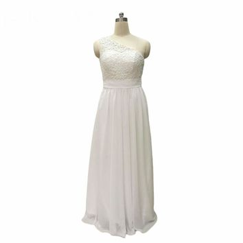 Lace Chiffon Beach Wedding Dresses Beads Bridal Gowns One Shoulder robe