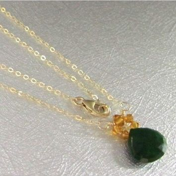 Faceted Emerald Drop Wire Wrapped 14 K Gold Topaz Crystal Necklace