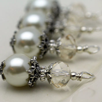 Vintage Style Bead Dangle Charm Drop Set in White Pearl and Champagne Crystal