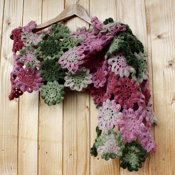 Hand Crocheted Shawl SPRING FLOWERS wool mohair acrylic green dusty rose gray marsala stole scarf winter spring autumn accessories gift her