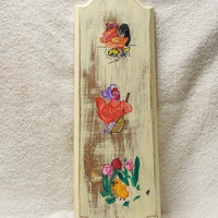 Whimsical Wooden Wall Plaque Hand Painted