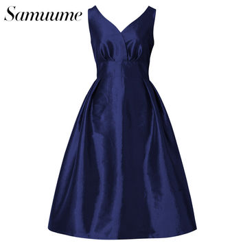 Samuume Summer Elegant Solid Pleated Umbrella Tank Dress Women 2017 V-Neck High Waist Circle Swing Midi Dress Vestidos A1702052