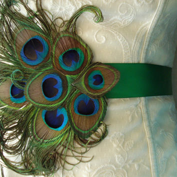 Peacock Wedding Bridal Sash or Belt, Peacock Feather Sash, Custom Colored Peacock Satin Sash or Belt