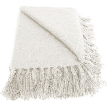 Liz Cream Faux Mohair Throw