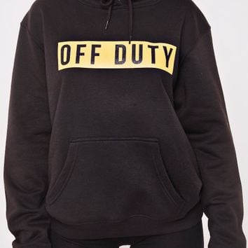 sami black off duty slogan print hoodie