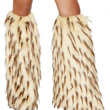 Tan-Brown Furry Leg Warmer Rave Accessories