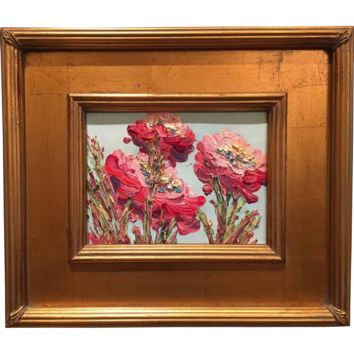 """French Wild Poppies Abstract"", Original Oil Painting by artist Sarah Kadlic, Gilt Frame 13""x15"""