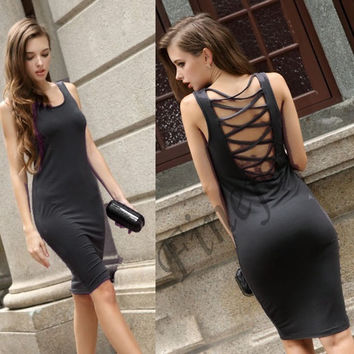 Women Sleeveless Back Cross Net Dress Night Club Vest Dress SV000934