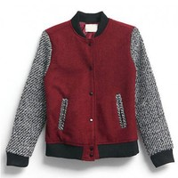 Red Bomber Jacket with Contrast Sleeves