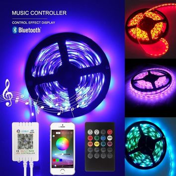 Bluetooth Music led light strip 5M Waterproof 12V 300 LED RGB Strip Light lamp 3528 SMD String Ribbon Tape Roll with Power Suppl