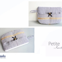 White blue striped pattern cosmetic bag or pencil pouch