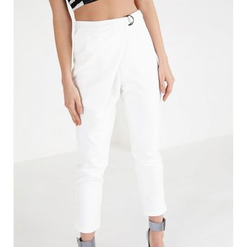 White Crossover D-Ring Peg Leg Trousers | Trousers | Lavish Alice