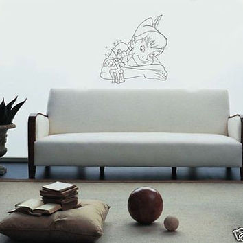 Peter Pan and Tinker Bell Fairy Cartoon Wall Art Sticker Decal 004