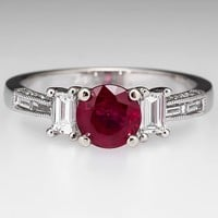 Vintage Style Ruby & Diamond Engagement Ring 18k White Gold