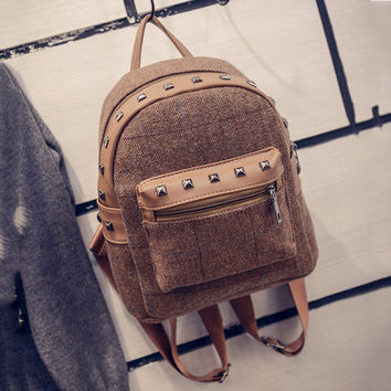 Rivet vintage small backpack women wool school bags for teenage girls pu patchwork leather backpack female travel bag