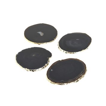 Set of 4 Black Agate Coasters