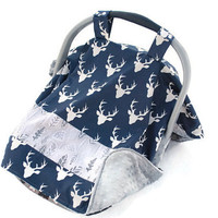 Car Seat Canopy - Car Seat Cover - Baby Car Seat Cover - Boys Car Seat Cover - Deer Car Seat Canopy - Blue Car Seat Cover - Baby Shower Gift