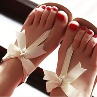 Bowknot is flat sandals JCAEA