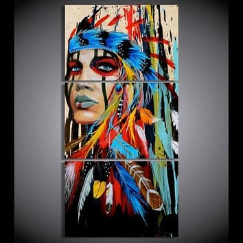 canvas art Printed The Indians feathered Painting Canvas Print room decor print poster picture canvas Free shipping W/1021