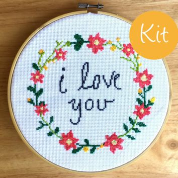 I Love You Cross Stitch Kit - Love Cross Stitch