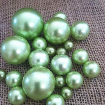Lime (Mint) Green Pearls For Floating Pearl Centerpieces, Jumbo Pearl Vase Fillers, Confetti, Table Decor