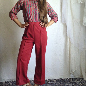 70s Dark Red Bell Bottoms // High Waist High Rise Stretchy Vintage Polyester Pants // Size: M, Short