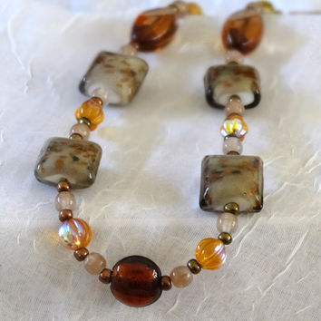Hand Crafted One of a Kind Earth Tone Lampwork And Crystal Beaded Necklace with Antique Gold Lobster Claw Clasp