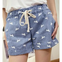 Dogs Print Casual Denim Shorts For Her