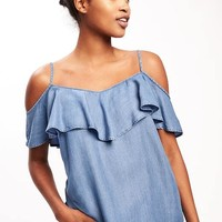 Relaxed Off-the-Shoulder Tencel® Top for Women | Old Navy