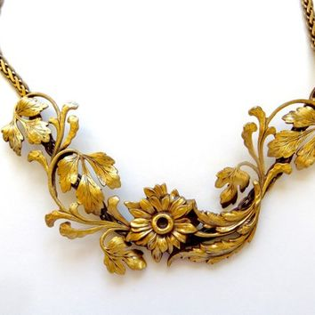 Vintage Gold Plated Bib Necklace, Signed Sukersa, Handmade Artisan Necklace Vintage Artisan Jewelry