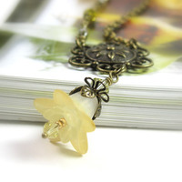 Yellow Vintage Style Flower Pendant Necklace, Swarovski Crystal Jewelry, Buttercup, Floral, Vintage Style Necklace, Womens Accessories