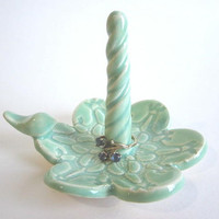Mint green Ring bowl,  bird ring dish in antique lace kitchen ring holder