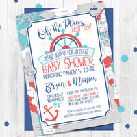 Nautical Oh The Places Baby Shower Invitation, Nautical theme, Co-ed, Navy blue, Teal, Red, Whale, Baby boy, Printable, Personalized