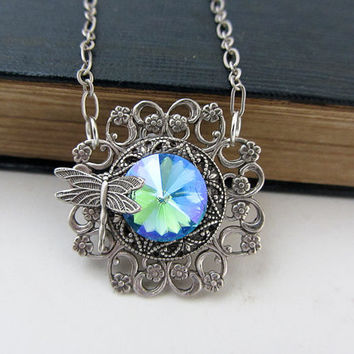 Swarovski Crystal Necklace art deco Jewelry dragonfly Blue Filigree Statement Jewelry