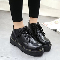 Hot Deal On Sale Thick Crust Platform Shoes England Style Vintage Shoes Round-toe Dr. Martens Boots [9013546436]