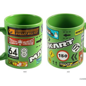 11oz OFFICIAL Mario Kart Green colored with Decal Foil printed Ceramic Coffee Mug Novelty GIFT