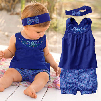 Fashion Baby Girls Sets Summer Suit Newborn Baby Girl Boy Clothes (Sleeve Romper+Headband+Pants) Infant Roupas De Bebe Menina