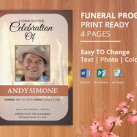 Printable Funeral Program Template, Memorial Service Program | Editable Microsoft Word, Publisher, Mac Page files | Instant Download - EF07