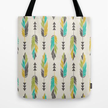 Painted Feathers in a Row-Cream Tote Bag by Bohemian Gypsy Jane | Society6