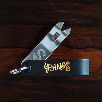 4 Hands Brewery Custom Snake Bite Bottle Opener - Black & Gold