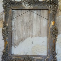 Ornate wooden gesso picture frame French farmhouse wall hanging home decor